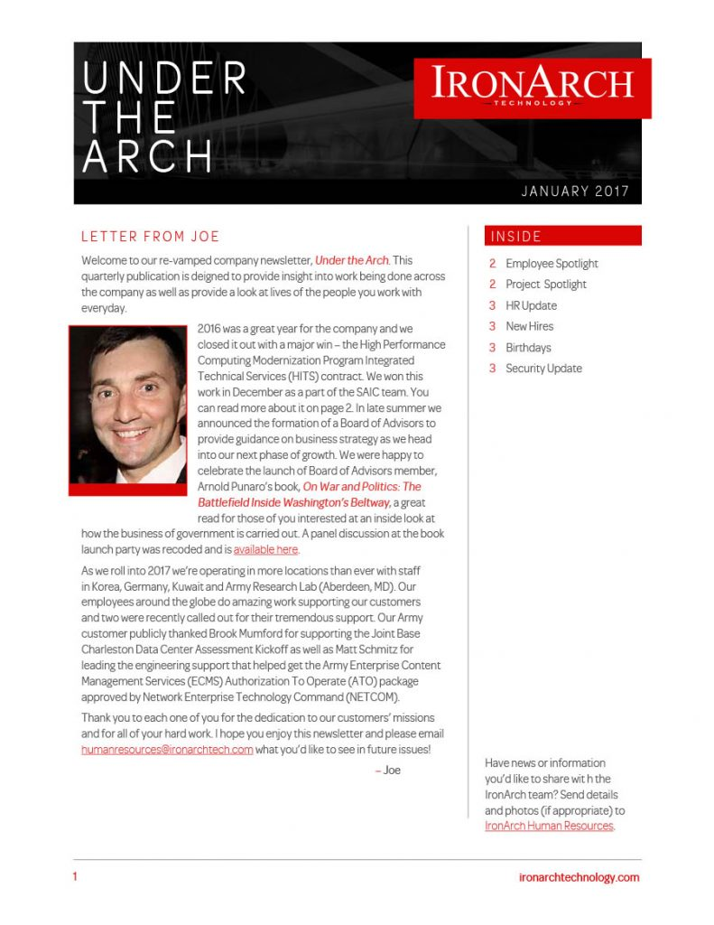 IronArch Technology Newsletter