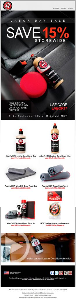 Adams's Polishes - Email Promotion